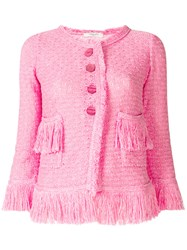 Charlott Button Fringe Jacket Pink And Purple