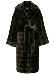 Goen.J Oversized Faux Mink Coat Brown