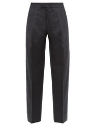The Row Martin Pleated Wool Blend Wide Leg Trousers Grey