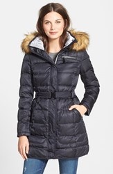 Women's Vince Camuto Faux Fur Trim Hooded Belted Down And Feather Fill Coat