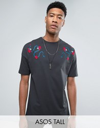 Asos Tall Oversized T Shirt With Snake And Rose Shoulder Embroidery Washed Black Grey