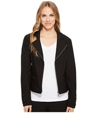 Tribal Stretch Bengaline Long Sleeve Jacket With Lace Up Detail Black Women's Coat