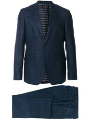 Etro Two Piece Suit Polyester Acetate Cupro Wool Blue