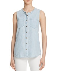 Ag Jeans Ag Sleeveless Chambray Shirt Blue Horizon