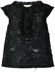L'autre Chose Frayed Sleeveless Top Women Cotton Polyamide Polyester 44 Black