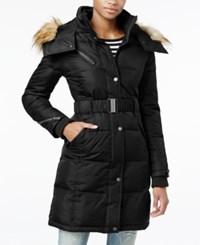 Rachel Roy Hooded Faux Fur Trim Quilted Puffer Coat Only At Macy's Black