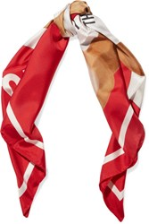 Moschino Printed Silk Twill Scarf Red