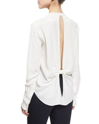 Helmut Lang Back Knot Frayed Crepe Top White