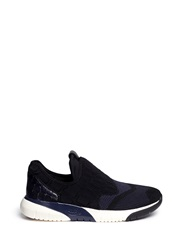 Ash 'Soda' Croc Embossed Neoprene Slip On Sneakers Black Blue