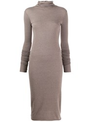 Rick Owens Lilies Knitted Roll Neck Dress Grey