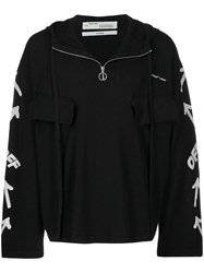 Off White Logo And Arrows Hooded Sweater Black