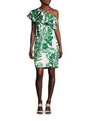 Alexia Admor Foliage Printed Asymmetric Neck Dress Green Print