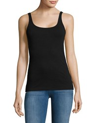 Lord And Taylor Ribbed Cotton Tank Top Black