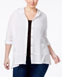 Style And Co Co. Plus Size Hooded Jacquard Cardigan Only At Macy's Bright White