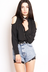 Yayer.Co.Uk Black Cold Shoulder Shirt