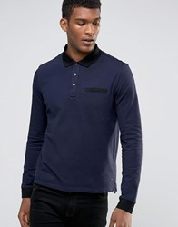 Hugo By Boss Ls Polo Contrast Collar And Cuff Navy
