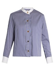 Khaite Paloma Striped Collarless Box Cut Shirt Blue White