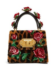 Dolce And Gabbana Welcome Rose And Leopard Print Velvet Bag Leopard