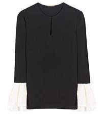 Saint Laurent Silk Top With Eyelet Black