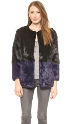 Jocelyn Colorblock Fur Coat Black Fig