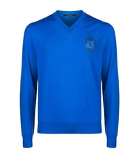 Billionaire Crested V Neck Sweater Male Blue