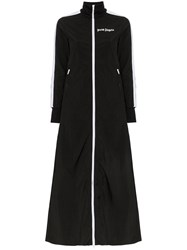 Palm Angels High Neck Zip Up Maxi Length Track Jacket Black