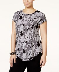Alfani Plus Size Cap Sleeve Floral Print T Shirt Only At Macy's Textured Motif