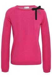 Red Valentino Redvalentino Woman Cutout Grosgrain Trimmed Wool Silk And Cashmere Blend Sweater Fuchsia