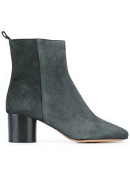 Etoile Isabel Marant Zipped Ankle Boots Leather Green