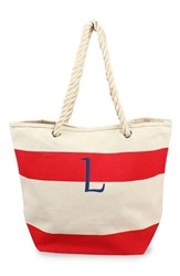 Cathy's Concepts Personalized Stripe Canvas Tote Red Red L