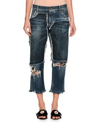 Dolce And Gabbana Distressed Denim Boyfriend Jeans Blue