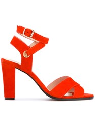 Tila March Cancun Sandals Women Leather Goat Suede 39 Red