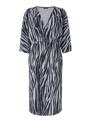 Biba Zebra Lurex Knot Dress Silver