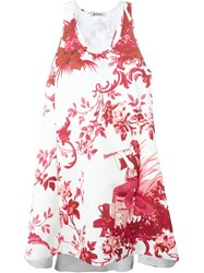 Dondup Flared Floral Print Dress White