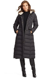 Lauren Ralph Lauren Faux Fur Trim Hooded Long Down And Feather Fill Coat Black