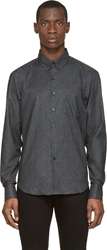 Naked And Famous Grey And Black Flowers Print Regular Shirt