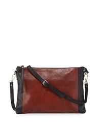 Neiman Marcus Made In Italy Smith Colorblock Leather Crossbody Bag Burnt Brown Black