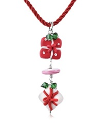 Dolci Gioie Christmas Gift Pendant With Red Lace Multicolor