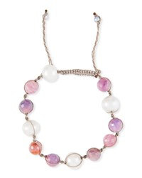 Margo Morrison Adjustable Pearl And Raw Ruby Bracelet Red Gray