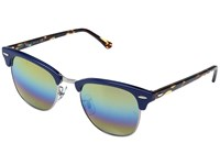 Ray Ban Clubmaster Rb3016 51Mm Blue Shiny Metallic Bronze Gold Blue Green Mirror Fashion Sunglasses Multi