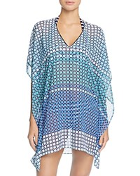 Tommy Bahama Pool Tiles V Neck Tunic Swim Cover Up Blue