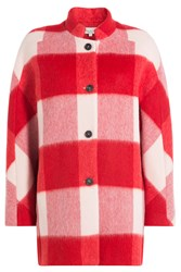 Paul And Joe Checked Coat With Wool Mohair Red