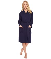 N By Natori French Terry Nvious Robe Midnight Navy Blue
