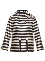 Moncler Corail Striped Twill Jacket Navy Multi