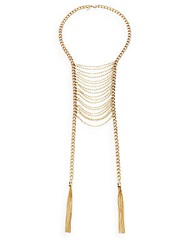 Saks Fifth Avenue Multi Chain Ladder Bib Necklace Gold