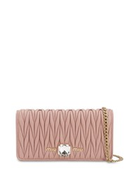 Miu Miu Matelasse Leather Shoulder Bag Orchidea