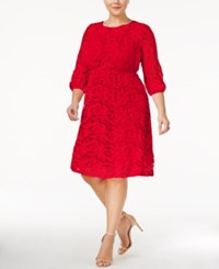 Ing Trendy Plus Size Lace A Line Dress Red