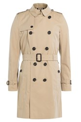 Burberry London Kensington Long Cotton Trench Coat Beige