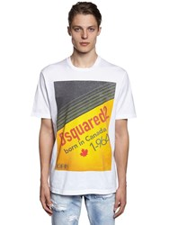 Dsquared Over Fit Printed Cotton Jersey T Shirt White