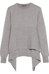 Alexander Mcqueen Asymmetric Ribbed Cashmere Sweater Stone